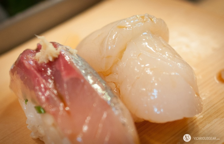 Horse mackerel (aji) next to scallop (hotate).