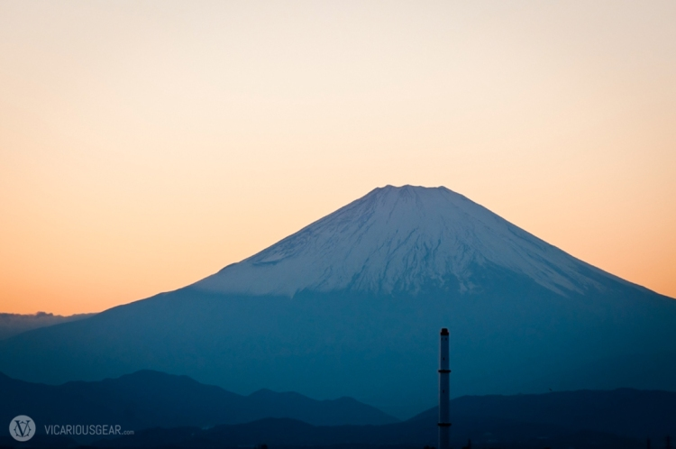 Mt. Fuji's snow cap really cleared up as the sun dipped below the horizon.
