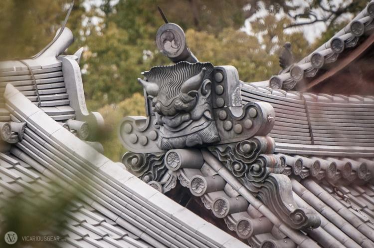 The largest and most ornate onigawara at Kinkaku-ji