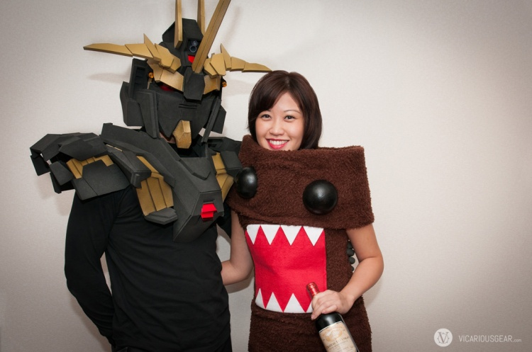 Me and the Mrs We had a buncha fun thinking out the design and making these. A first time for us. Our costumes: Gundam Banshee for me and Domo for her.