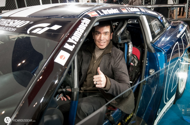 Happy like a kid in a candy store in the Gran Turismo GT-R.