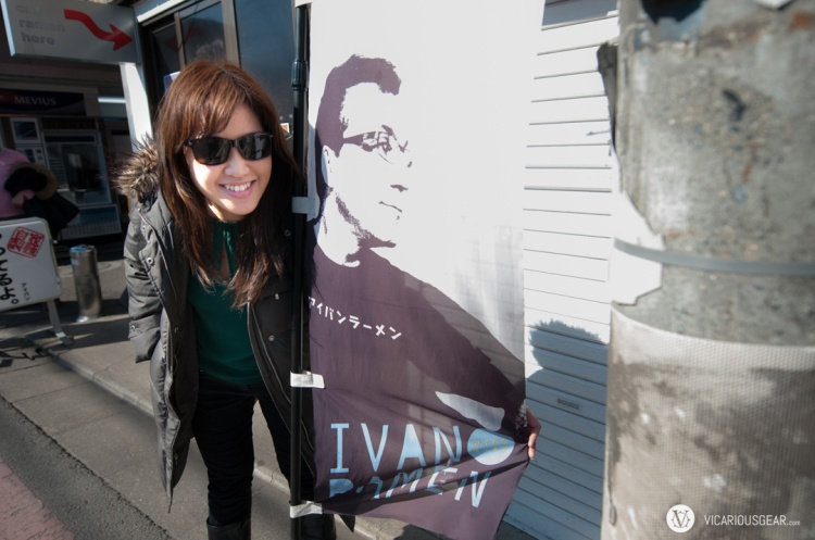 Since Ivan wasn't on premesis, Mimi had to make due posing with his banner.