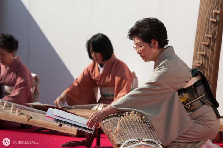 These kimono clad ladies were playing yamatogoto just inside the entry to Ume-no-Koen park.