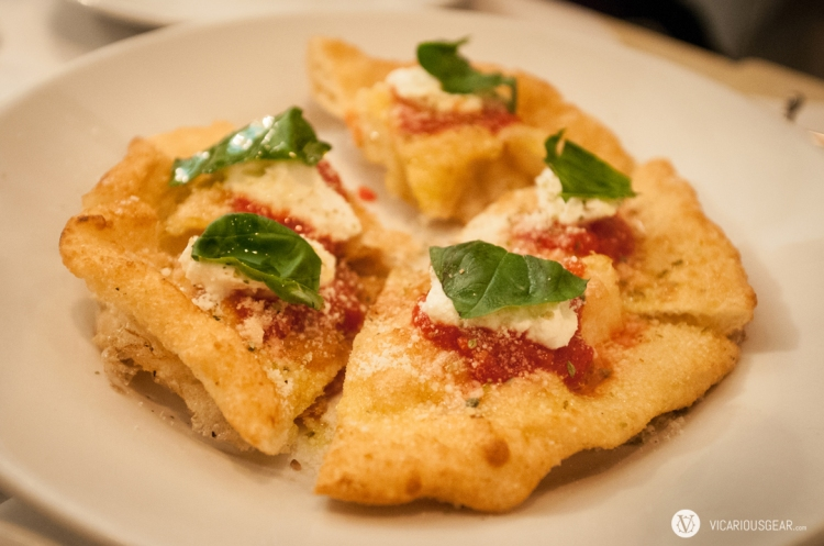 Mimi and I absolutely love their fried /A-ge (揚げ) pizza.  Topped with a house made mascarpone and basil.
