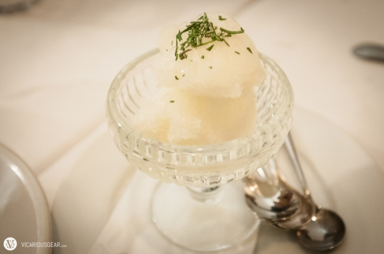 Lemon and rosemary granita.
