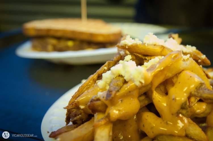 Think these are the Greek Fries, topped with feta cheese & Hubcap sauce.