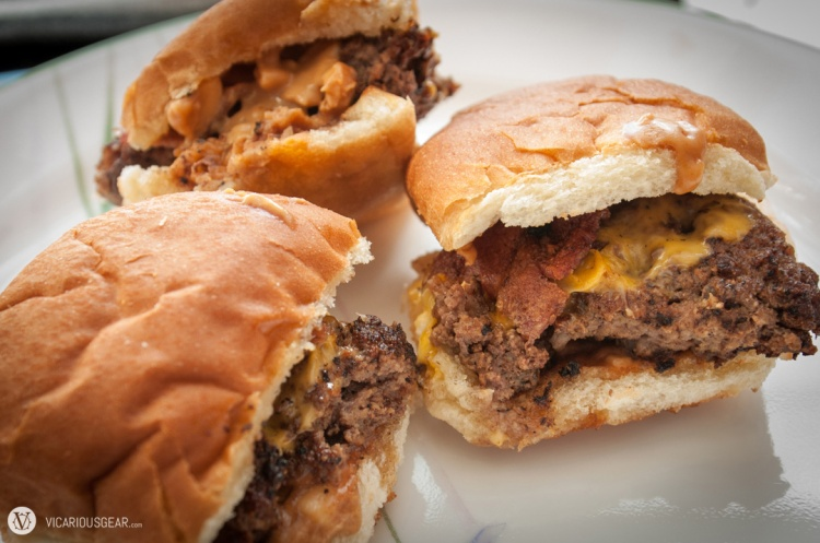 Sticky Sliders: Mini-Burgers with bacon, American cheese,and crunchy peanut butter. Liked these the best.