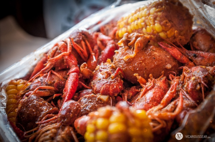 10lbs of crawfish, 1lb of sausage, potatoes and corn marinated in the Whole Sha-bang. Delicious.