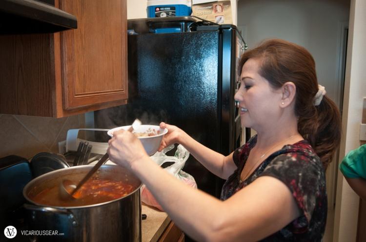 My mom-in-law preparing a bowl Bún bò. :)