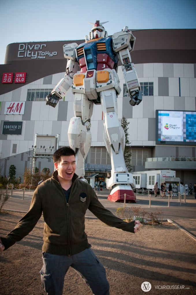 This was the least embarrassing of my dorky poses with the Gundam.