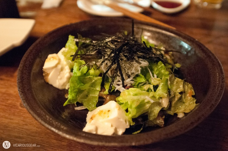 Tofu salad with whitebait and plum dressing.