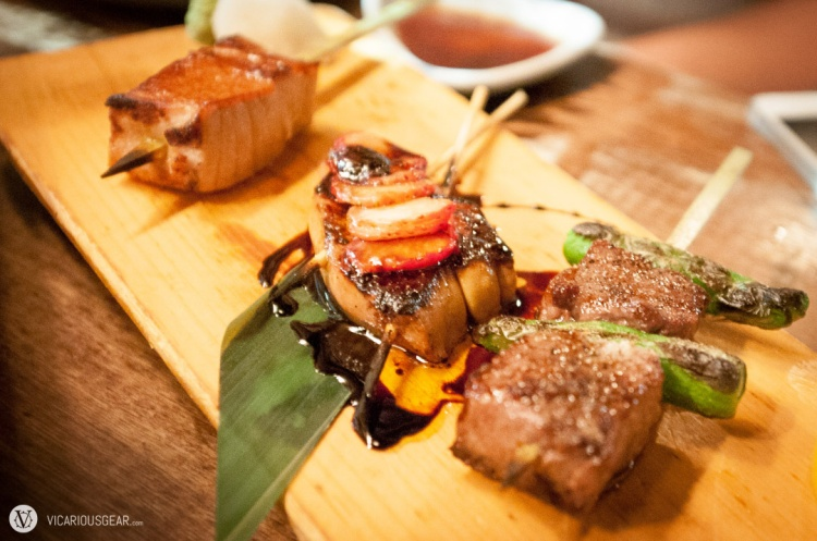 Yakitori, from the bottom up: 1 - Kuroge beef and shishito peppers. 2 - Foie Gras with strawberry and some sort of balsamic. 3 - Seared tuna.
