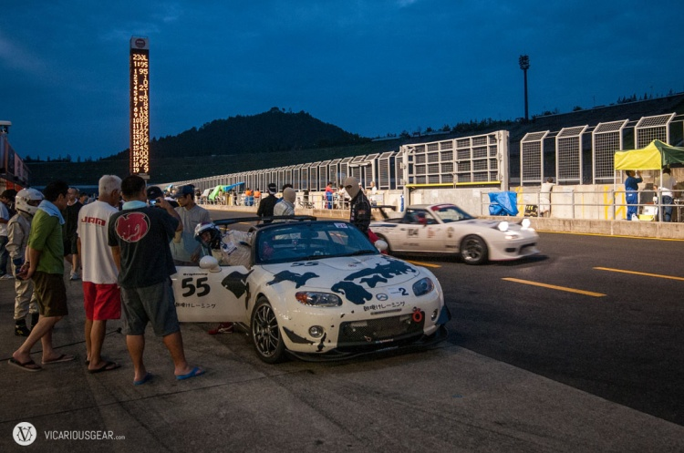 Some of the teams got more aggressive as night fell. This Miata nearly took out some of his crew while coming in for a pit stop.