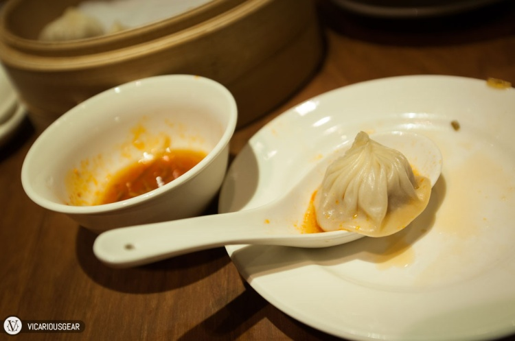 One of the pork dumplings just before being devoured
