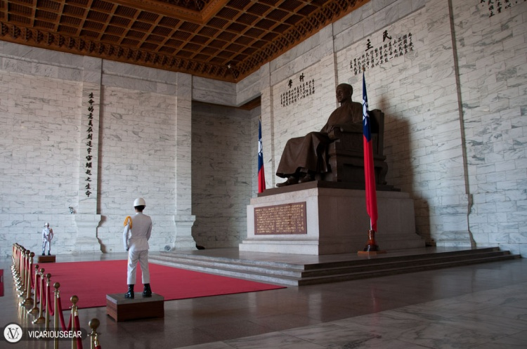 Directly in front of the statue are two guards that stand absolutely still for an hour straight.