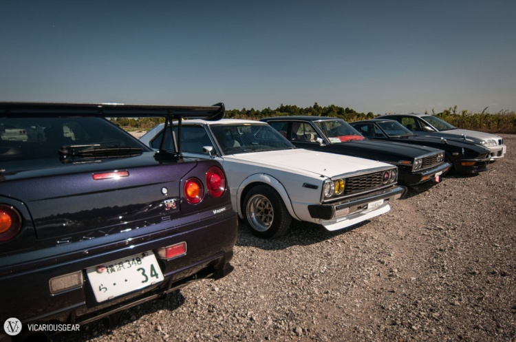 This duo of C210 coupes still looked tough even parked next to the much younger R34 V-spec.