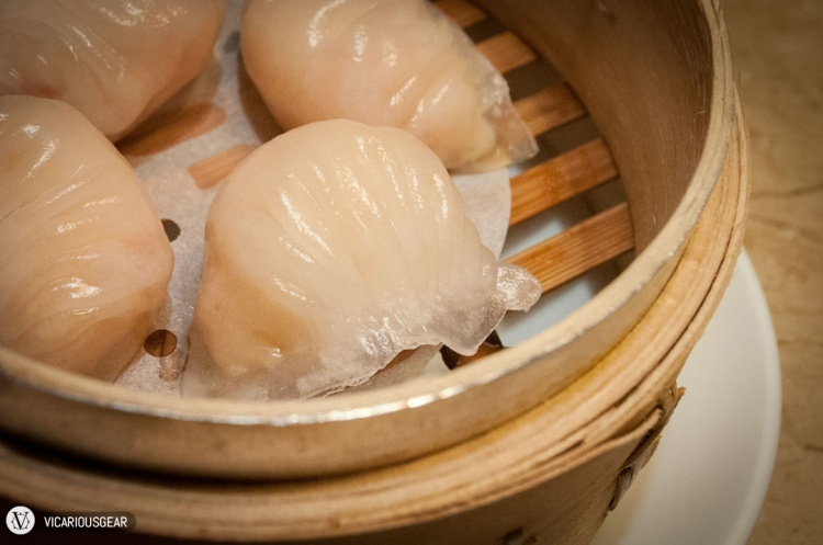 Har gow (蝦餃) / shrimp dumplings. Typically something I don't care to eat but they weren't bad here.