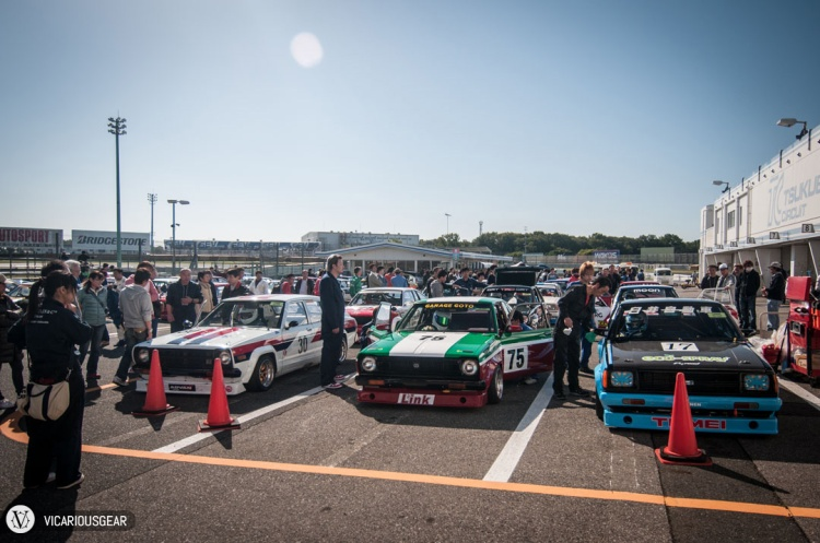 In the southern staging area of the paddock a huge group of Nissan Sunnys were gathered.