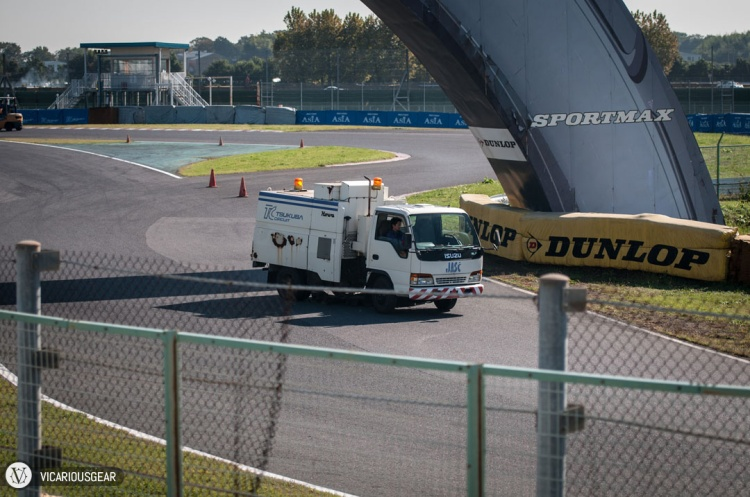After a few laps this track maintenance vehicle came out.