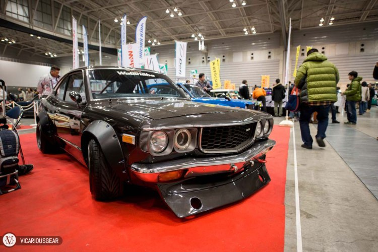 One of my favorite cars at the show was this black RX-3 at the RS Watanabe booth.