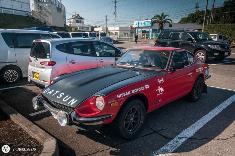 A rally replica S30Z acting like a normal car in the north parking lot