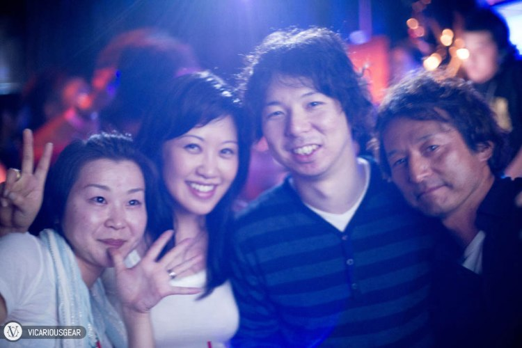 Our friends Akiko and Hajime joined us for the adventure. Our host, Mitamura-san of Taverna Balena on the right. It was quite a challenge to manually focus on the dark dance floor between strobes of light.