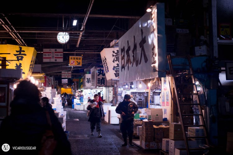 After finding out the wait from our position in line would be over three hours in the freezing cold, we decided to take turns touring the fish market with Mitamura-san