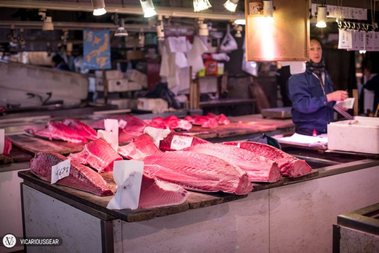 Huge slabs of the tuna purchased at auction earlier in the morning were laid out on display.