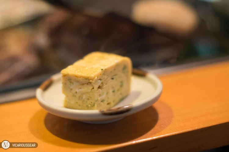 A slice of tamagoyaki to start things off. One of the better ones I've tried with a light and slightly moist texture accompanied by a subtle sweetness.