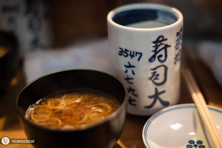 Miso soup and hot tea to warm us up.