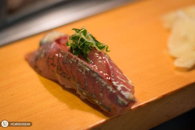 Horse Mackerel (Aji) topped with scallion. One of my favorites.