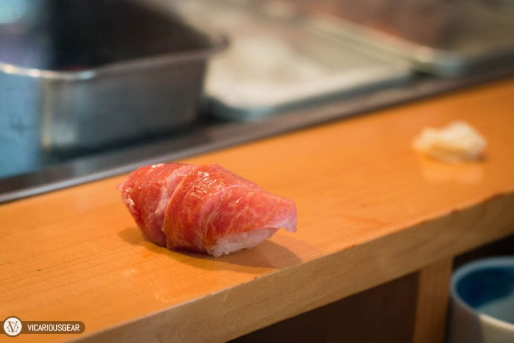 Mimi chose an extra piece of fatty tuna at the end.